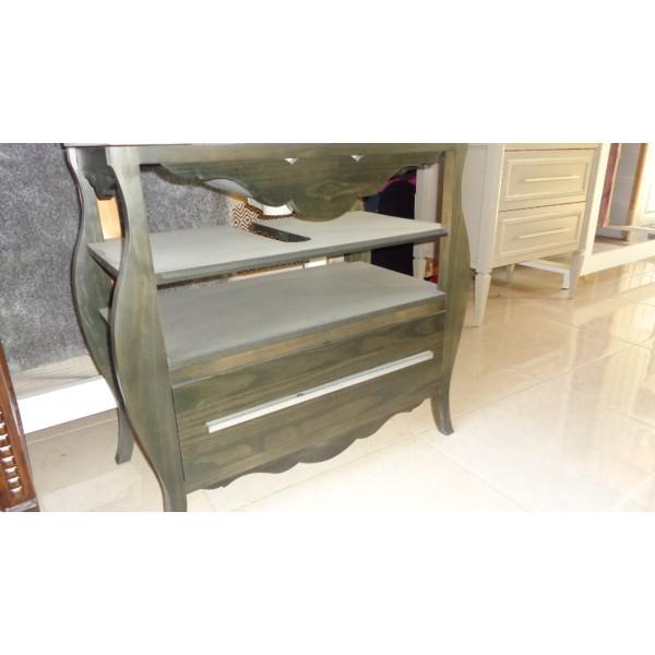 Muebles Baño Color Wengue:Mueble baño 88cm ancho color Wengue madera 1 cajon 2 bandejas espejo