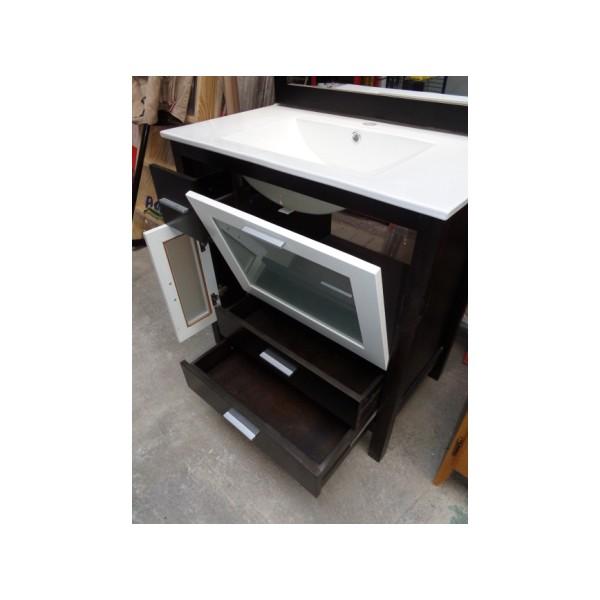 Muebles Baño Color Wengue:Mueble baño 80cm ancho madera color wengue-blanco – Bricoquality SL