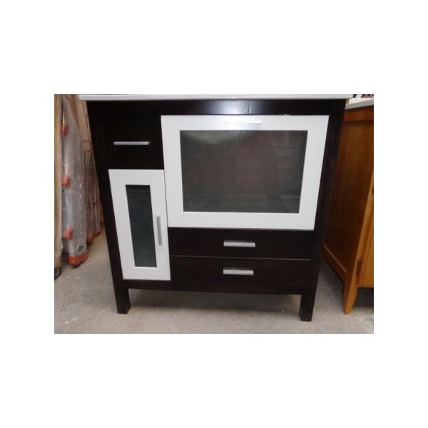 Muebles Para Baño Wengue:Mueble baño 80cm ancho madera color wengue-blanco – Bricoquality SL