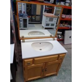 Mueble ba o 82cm ancho madera color pino bricoquality s l for Muebles de cocina en madera de pino