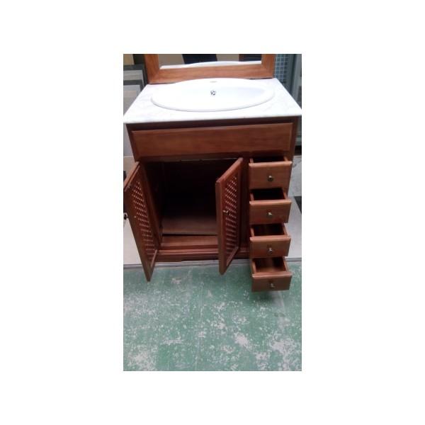 Mueble ba o 76cm ancho madera color cerezo bricoquality s l for Mueble 25 cm ancho