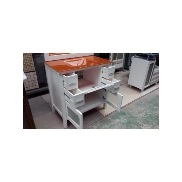mueble ba o 80 cm ancho madera lacado blanco cristal