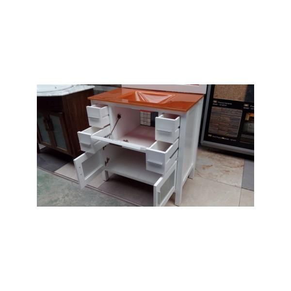 Mueble ba o 80 cm ancho madera lacado blanco cristal for Mueble 55 cm ancho