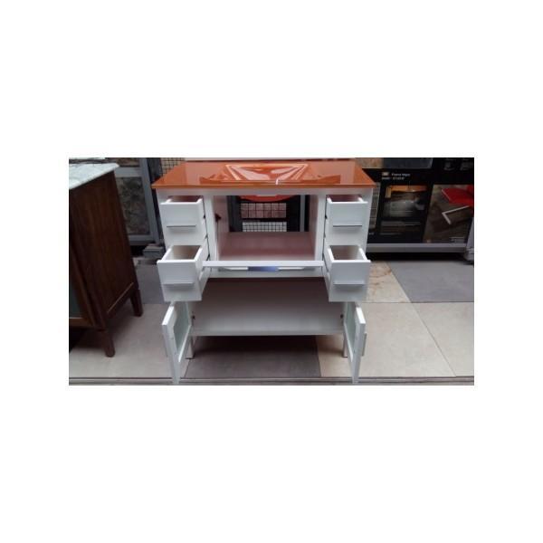 Mueble ba o 80 cm ancho madera lacado blanco cristal for Mueble 25 cm ancho
