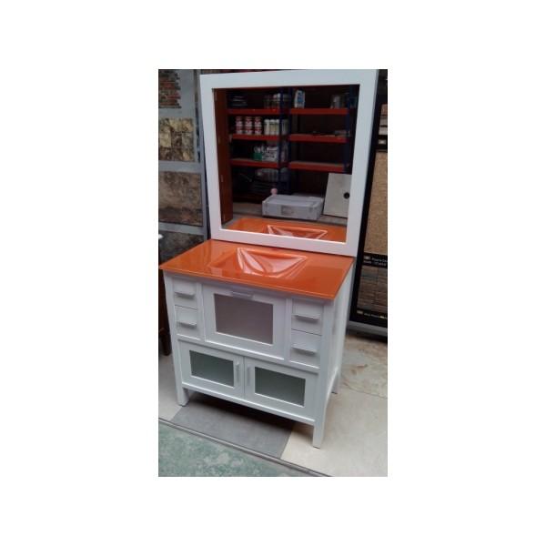 Muebles Baño Color Naranja : Mueble ba?o cm ancho madera lacado blanco cristal