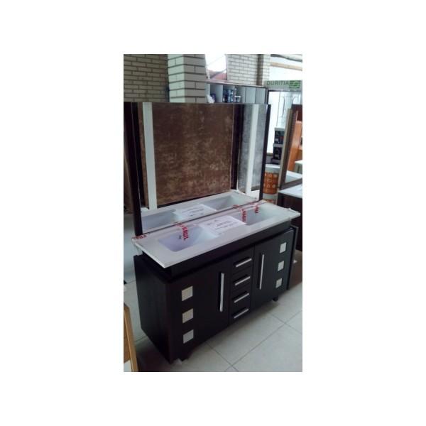 Muebles Baño Color Wengue:Mueble baño 123 cm ancho madera color wengue – Bricoquality SL