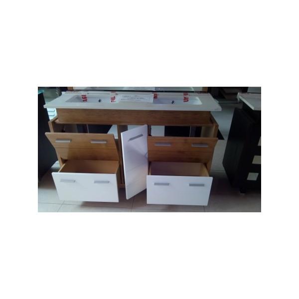 Mueble ba o 123 cm ancho madera color roble y blanco for Mueble 55 cm ancho